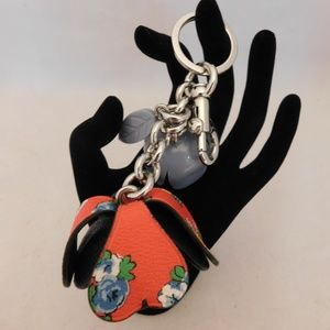 Coach Tea Rose Floral Blue/Red Keychain Charm
